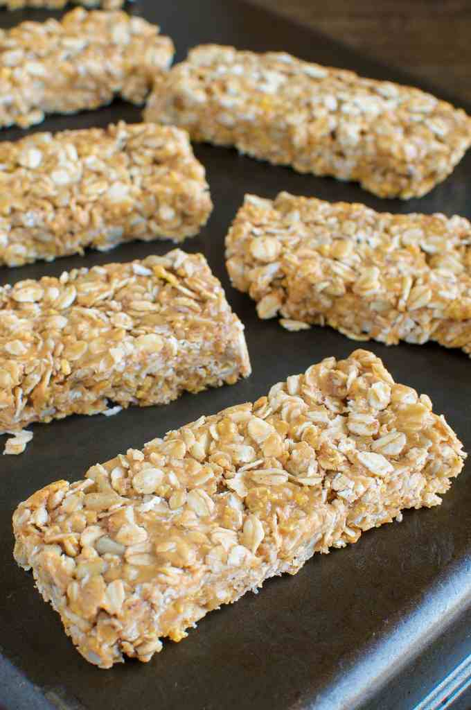 Easy, No Bake, Chewy Honey Peanut Butter Granola Bars