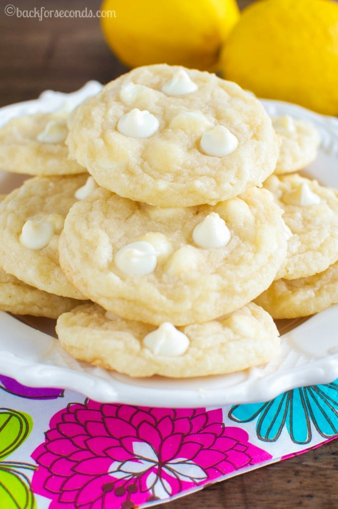 Chewy Lemon Cookies with white chocolate chips. So addicting!