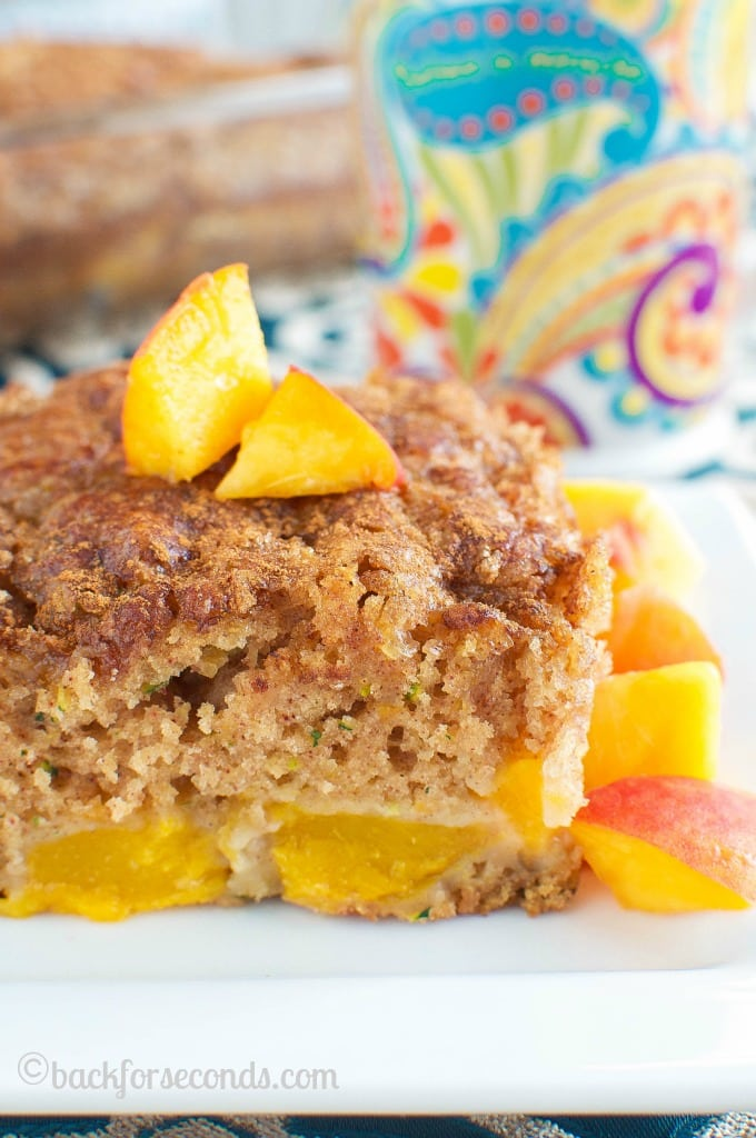 Peach Zucchini Coffee Cake with Brown Sugar Cinnamon Topping
