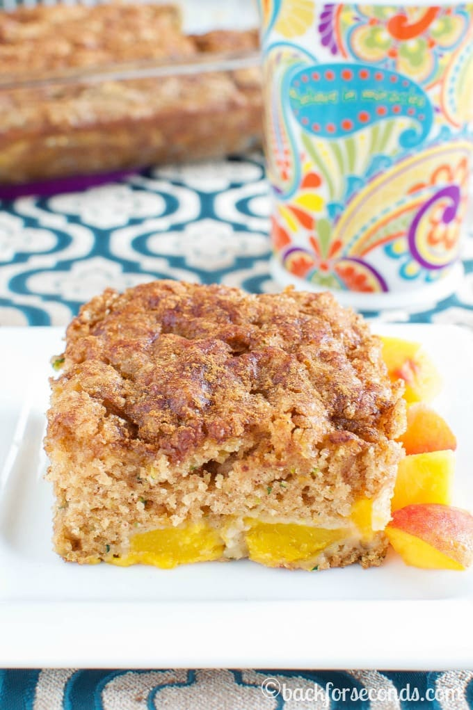 Zucchini Coffee Cake with Peaches!