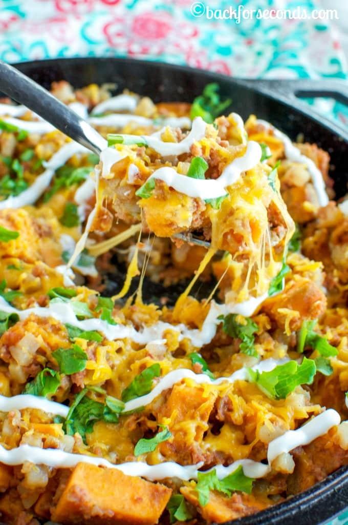 Easy Cheesy Sweet Potato Corned Beef Hash #Promotion