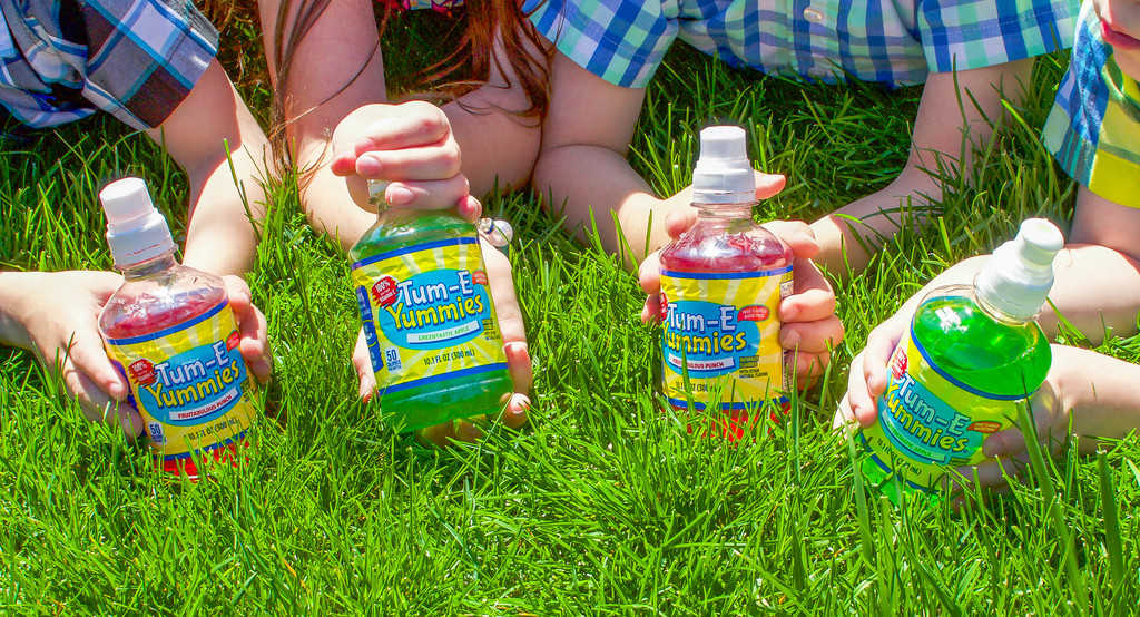 All Tum-E Yummies flavors have 100% daily value vitamin C, B6, B12 and only 50 calories, 13g of sugar and no sodium! My kids love having their own bottle of juice in their favorite color.