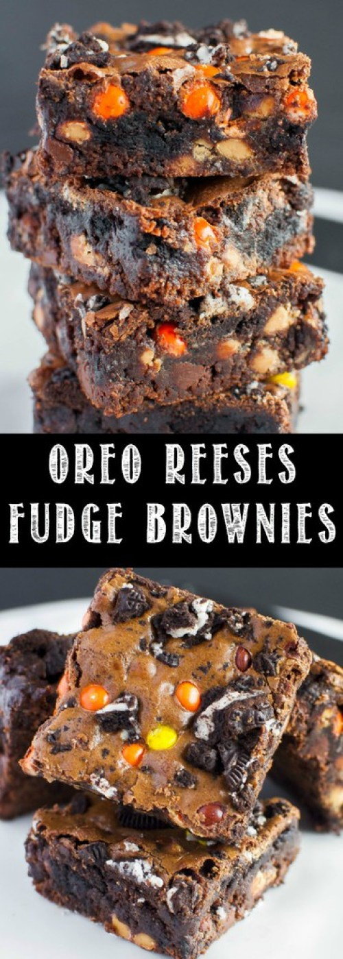 These homemade Oreo Reese's Fudge Brownies are thick, rich, and fudgy - just the way a brownie should be! These make an easy Halloween dessert, too!