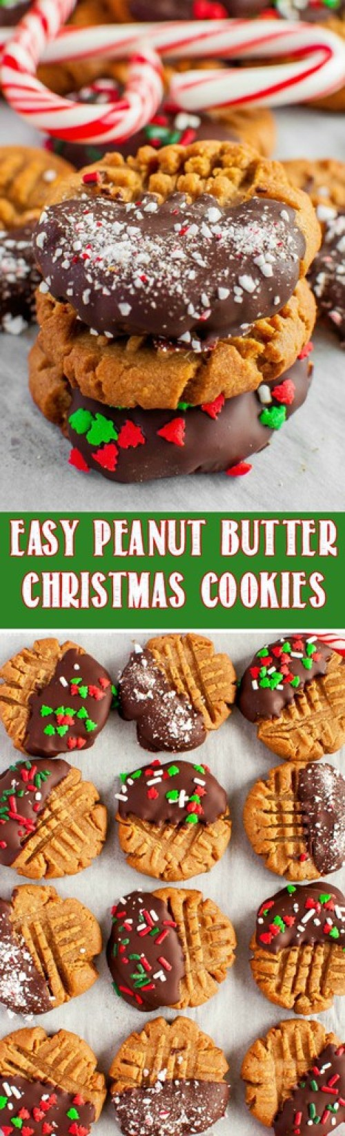 This Easy Christmas Peanut Butter Cookie Recipe is so fun and festive, and takes just 3 ingredients to make! Perfect recipe for a Christmas cookie exchange!