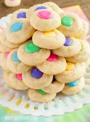 Easter Thumbprint Cookies arranged on a cake plate
