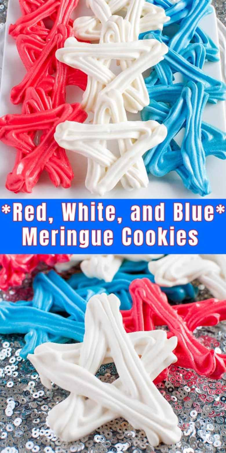 Red, White, and Blue Meringue Cookies