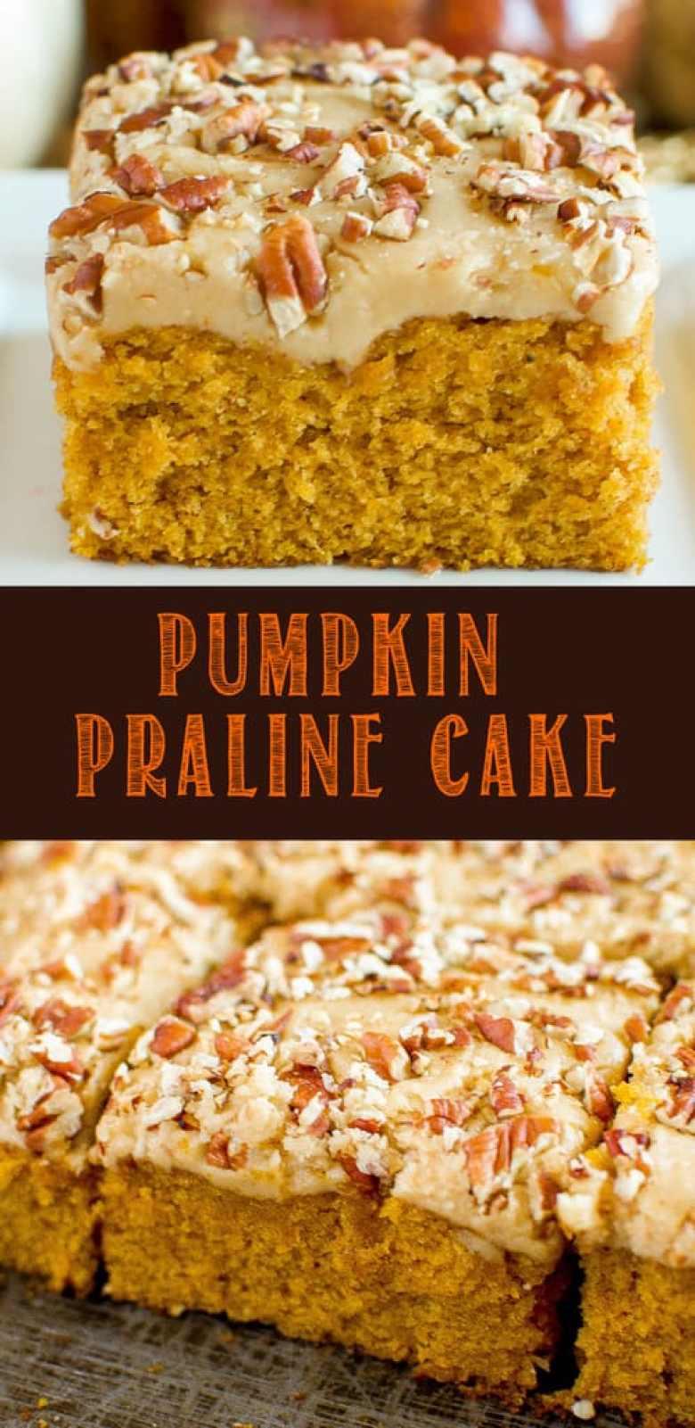 pumpkin praline cake collage photo