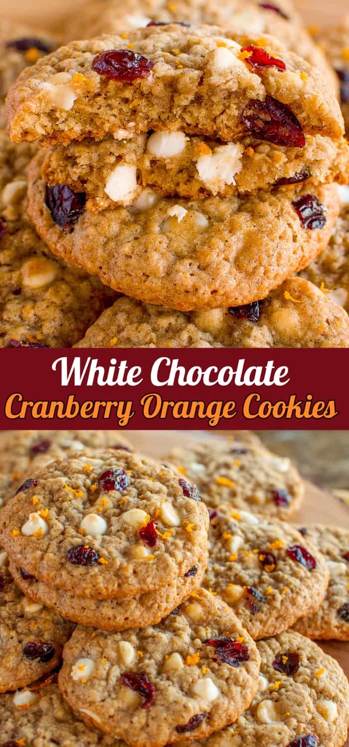 White Chocolate Cranberry Orange Cookies Collage Photo