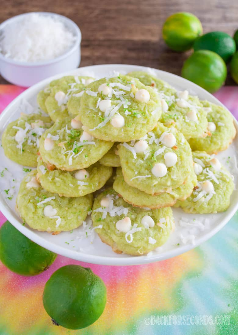 Coconut Lime Cookies on a cake plate