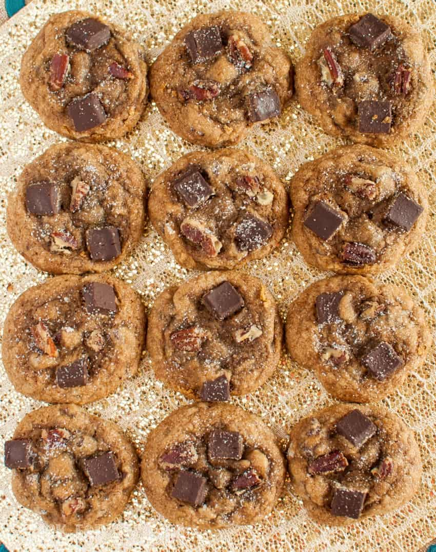 Chewy Molasses Chocolate Chunk Cookies laid out in rows 3x4