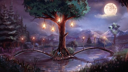 landscape deviantart fantasy moon sylar113 anime forest tree hd wallpapers background bridge scenery night pony pretty lantern digital artwork wall