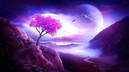 fantasy landscape planet purple backiee tree elenadudina trip last wallpapers arts 1742 abyss mountain