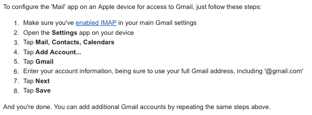 Setting up iPhone to Sync with a Google Account