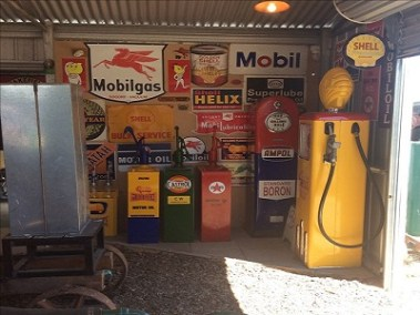 Petrol bowsers and signs, highboys shell mobil ampol