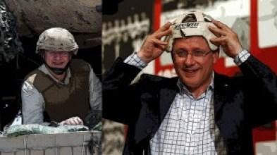 Stephen Harper in army helmet (l) and hockey helmet (r)