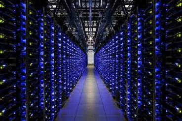 Glowing bank of servers