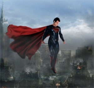 "Superman over destroyed Metropolis in ""Man of Steel"""