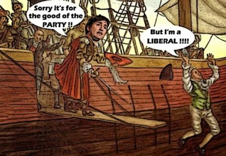 Justin Trudeau as pirate making Senators walk the plank