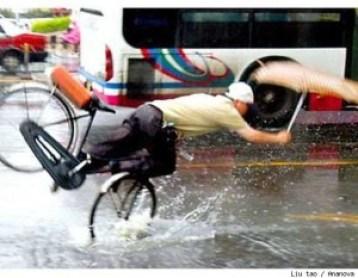 Cyclist hits pothole