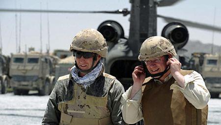 Peter MacKay and Stephen Harper in battle gear