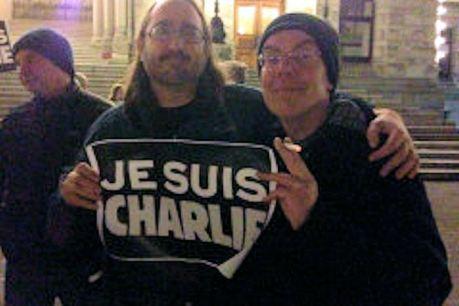 Mark Leiren-Young and Ian Ferguson at Victoria Charlie Hebdo vigil