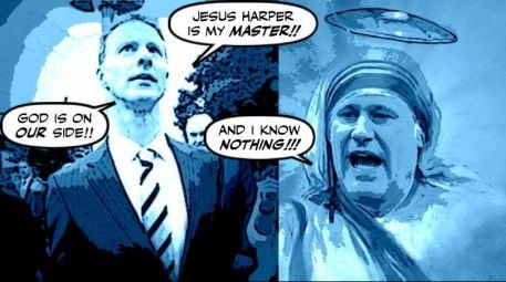 Cartoon: Wright praying to Harper