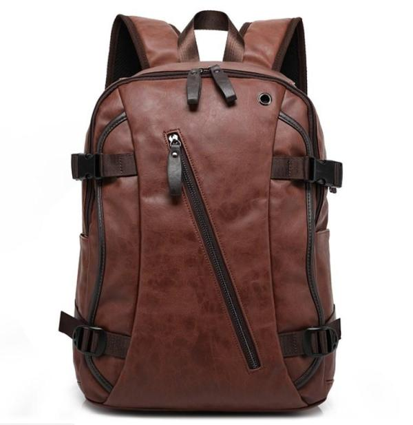 Men Backpack Fashion Style Leather Backpack Brown