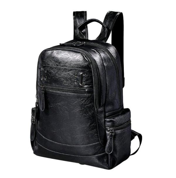 Men's pu fashion trend backpack large capacity Backpack Black