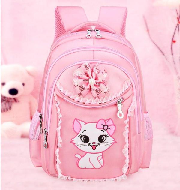 6-12 year old Girl's backpack cute cat design Backpack Pink Big