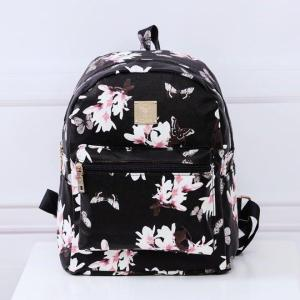 Flower cotton Backpack Backpack Black