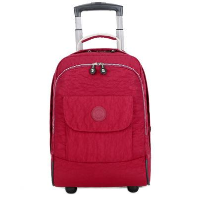 17 inch Rolling Luggage Backpack Carry on Duffle Bag Backpack Wine red