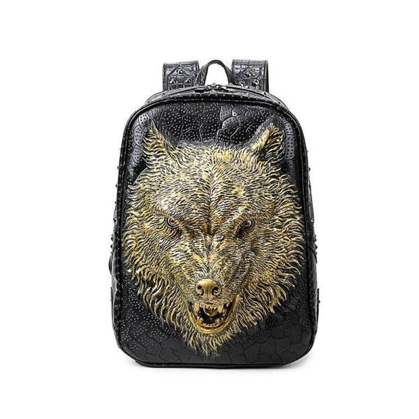 3D Wolf Head Gothic Student Backpack Backpack Gold