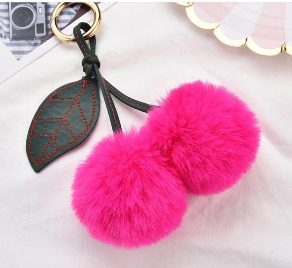 Hairy ball Pom Pom Accessories Rose red