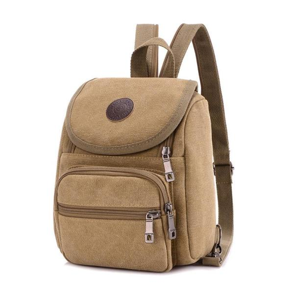 Men's Canvas backpack leisure travel, chest bag Backpack Khaki