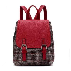 Autumn and Winter Women woolen backpack Backpack Red wine