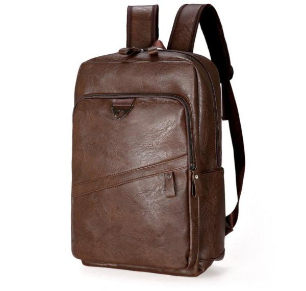 Large-capacity leather Men backpack Backpack Coffee Brown