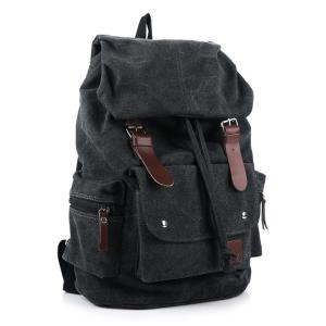 Men canvas backpack large capacity thick washed Backpack Black