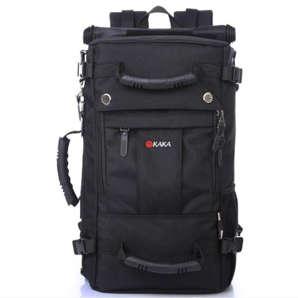 Outdoor large capacity Men backpack with lock Backpack Pure black