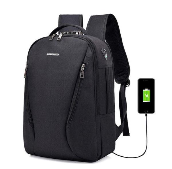Laptop knapsack USB charging, waterproof and anti-theft Backpack Black