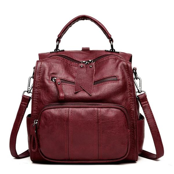 Multi-purpose soft face PU Leather backpack Backpack Rose red