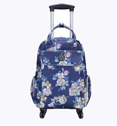 Canvas Floral Printed Backpack with wheels little rose