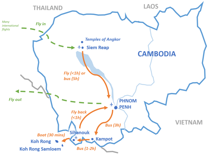 Cambodia: suggested itinerary – Backpack diariez on pailin cambodia map, takeo cambodia map, kampot cambodia map, pursat cambodia map, khmer rouge cambodia map, sen monorom cambodia map, kratie cambodia map, cambodia islands map, kompong som cambodia map, battambang cambodia map, sisophon cambodia map, mondulkiri cambodia map, stung treng cambodia map, angkor wat cambodia map, siem reap cambodia map, kep cambodia map,