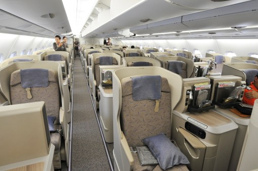 Business Class cabin onboard the 'ASIANA380'