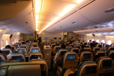 Singapore Airlines A380 lower deck economy cabin