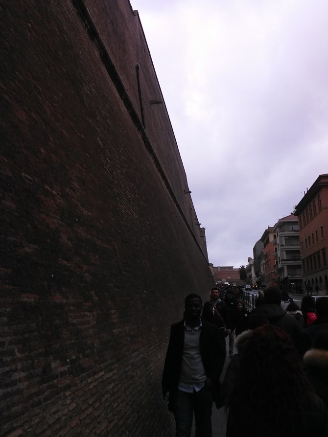 The wall on the outside of the Vatican