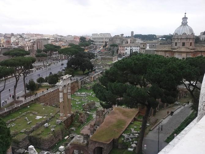 View of some ruins from the Altare della Patria