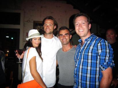 Chris & me with actors Genevieve Cortese & Jared Padalecli @ Lambert's, Austin