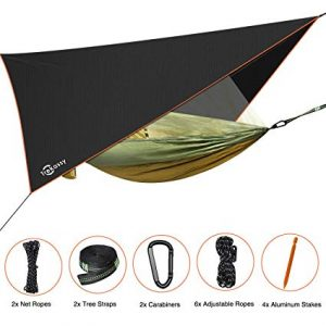 Trekassy Portable Double Camping Hammock with Removable Mosquito Bug Net and Rain Fly review