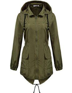 Marc&Steve Womens Lightweight Hooded Waterproof Rain Jacket
