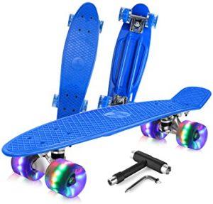 BELEEV Skateboard Complete Mini Cruiser Retro Skateboard
